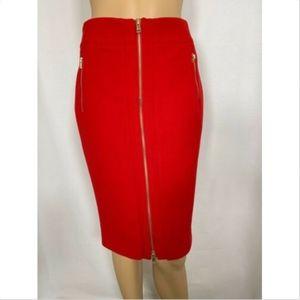 Ann Taylor women's skirt size 0 red pencil zipper